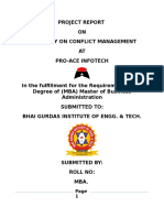 project on conflict management pro ace infotech patiala