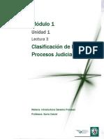 DERECHO PROCESAL 1 Lectura 3 - Clasificación de Los Procesos Judiciales