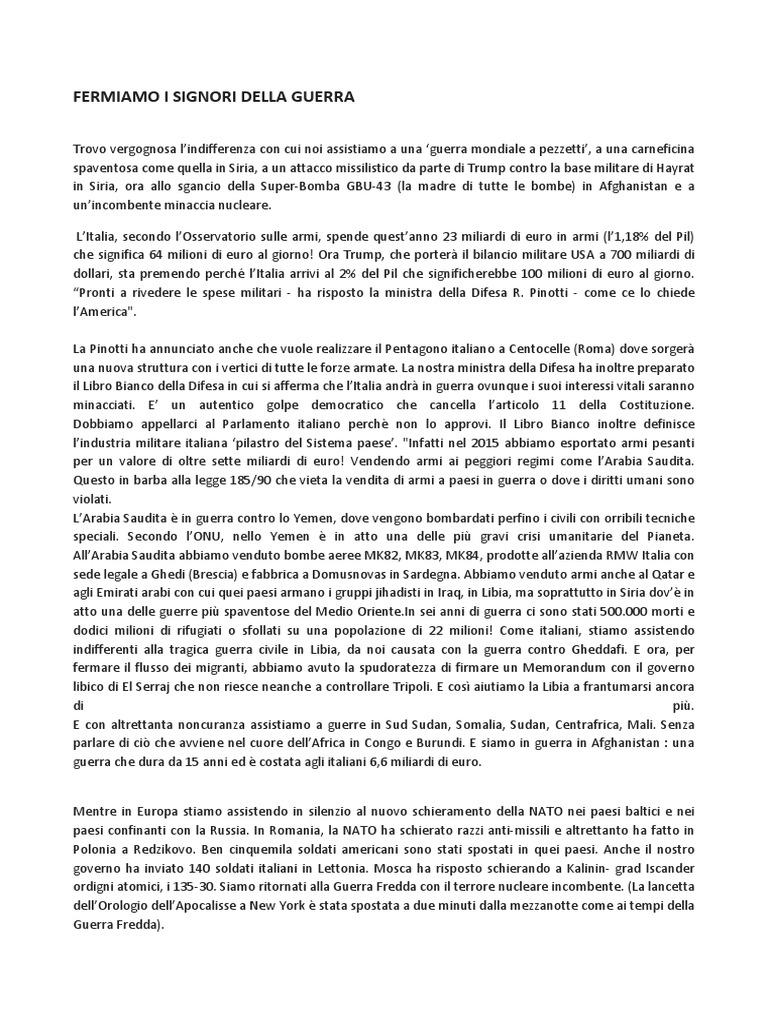 Fermiamo i signori della guerra for Cucinare con 2 euro al giorno pdf