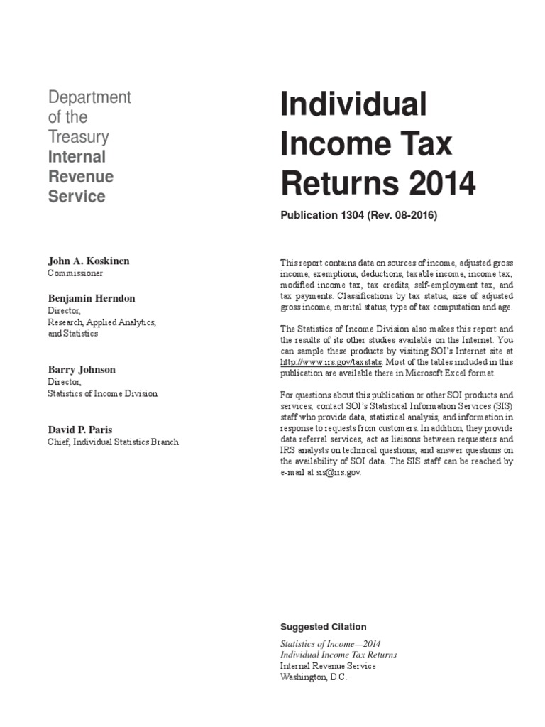 IRS Data on 2014 Tax Filers | Tax Deduction | Irs Tax Forms
