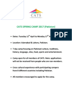 Cats Spring Camp 2017 Information