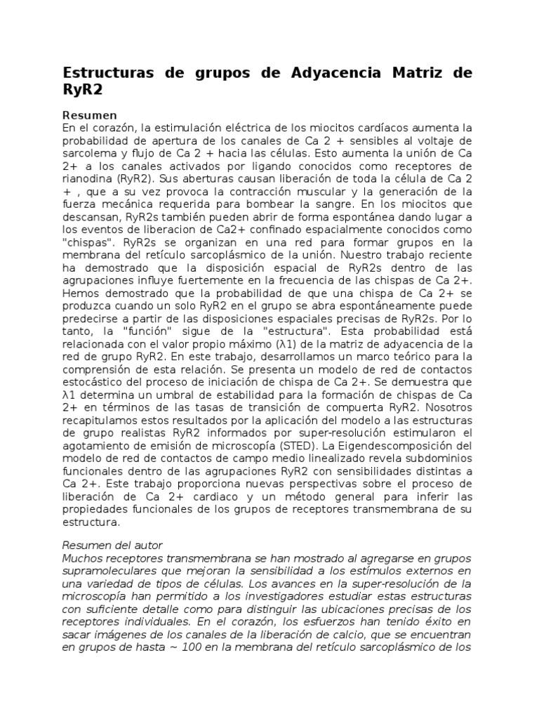 14 Estructuras De Grupos De Adyacencia Matriz De Ryr2 Completo
