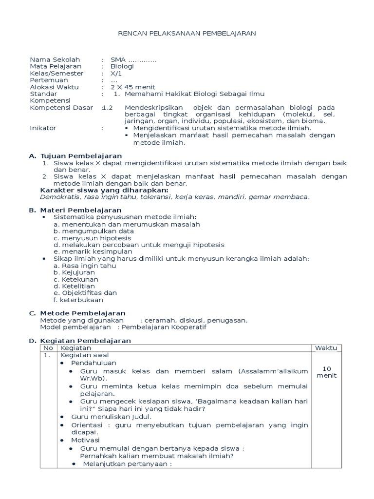 Rpp Biologi Kd 1 2 Metode Ilmiah 2