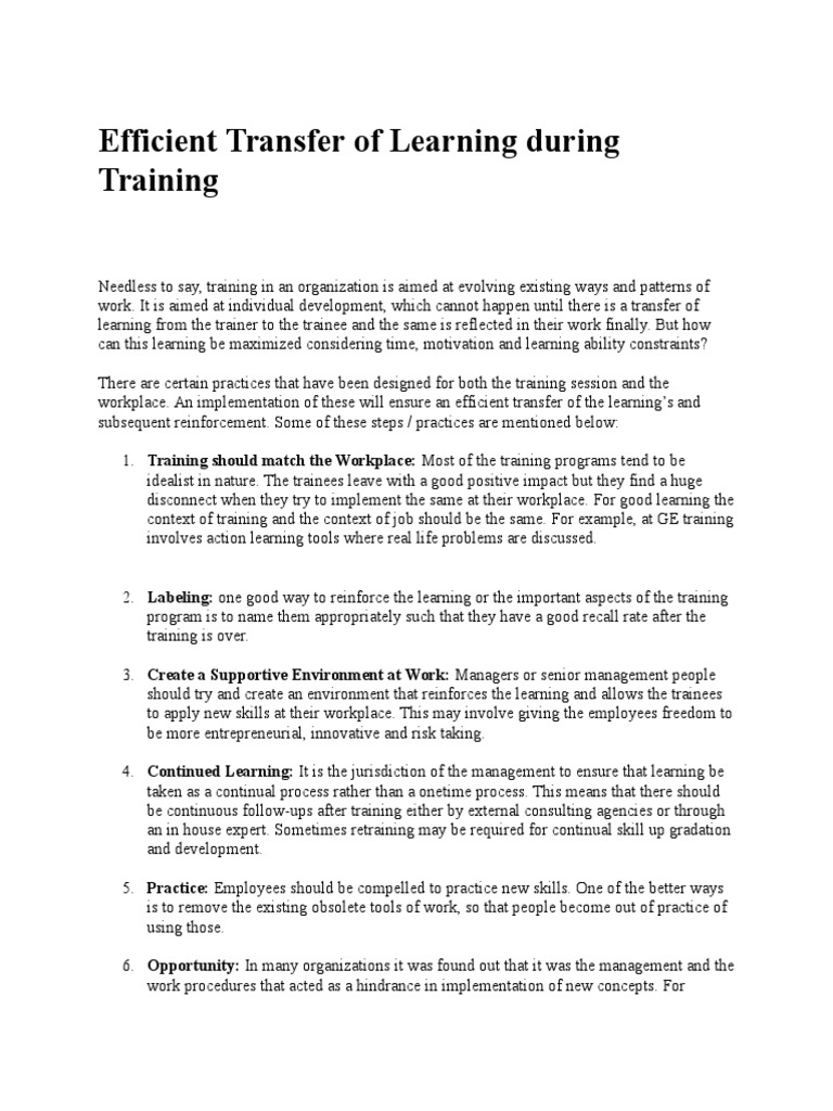 Efficient Transfer of Learning during Training docx | Action