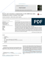5. Reasons and Constraints to Implementing an ISO 22000 Food Safety Management System Evidence From Spain