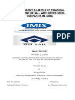 sip project on comparative analysis of financial satatement of sail with other steel companies in india