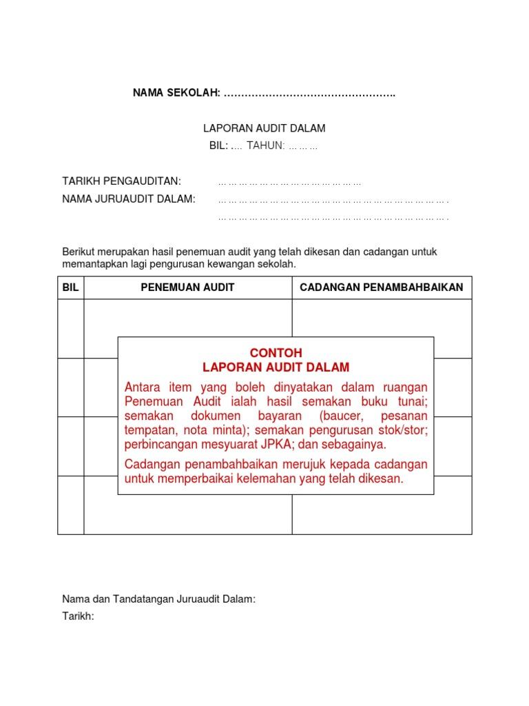 Contoh Borang Lap Audit Dalam