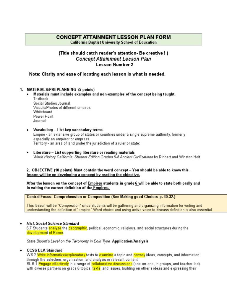 concept attainment lesson plan   Empire   Reading Comprehension