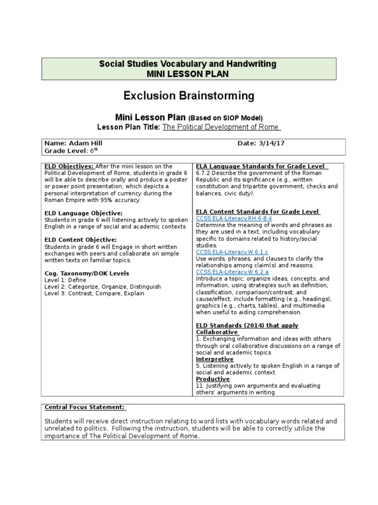 Social studies vocabulary and handwriting lesson plan reading comprehension vocabulary