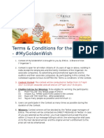 Terms & Conditions for Contest #MyGoldenWish