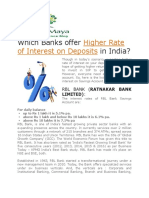 Higher Interest Rate on Deposits in India