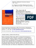The frontiers of development studies