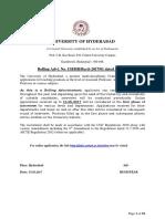Notification University of Hyderabad Teaching Posts