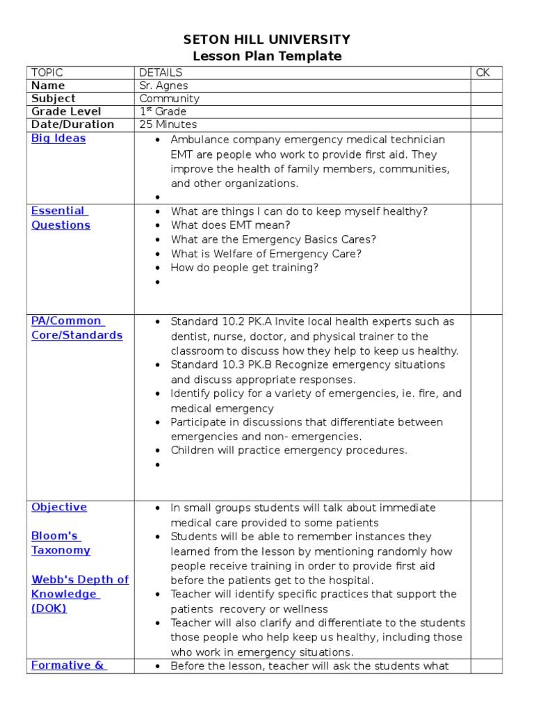 lesson plan template four social studies emergency medical