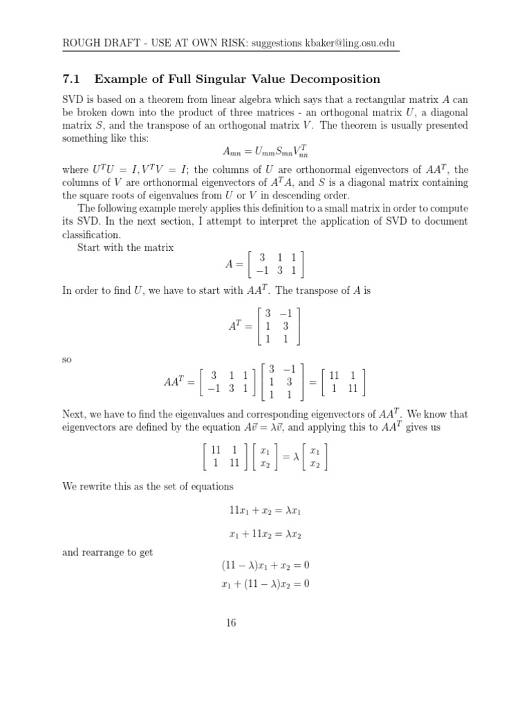Singular Value Decomposition Examplepdf Eigenvalues And