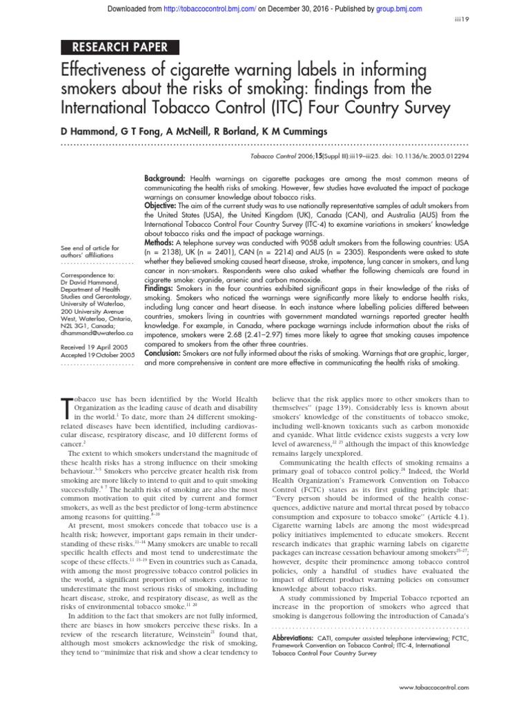 tobacco research paper