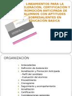 Lineamientos Para La Aceleración, Acreditación y Promoción de Alumnos Con As