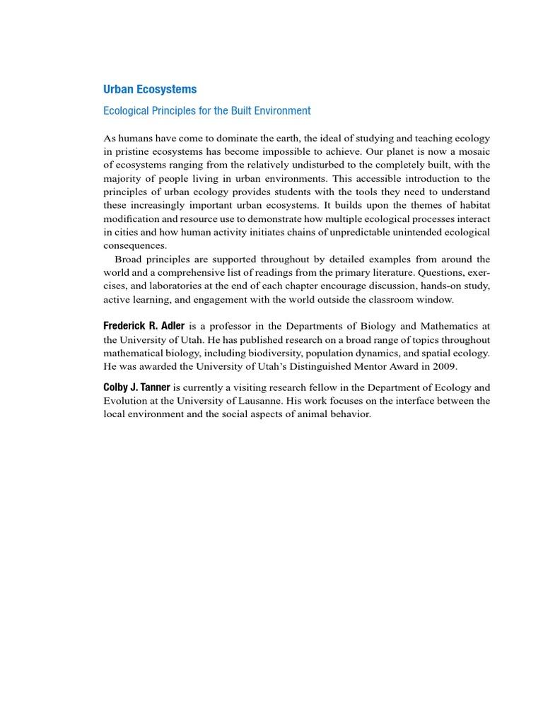 adler f r tanner c j urban ecosystems ecological principles for