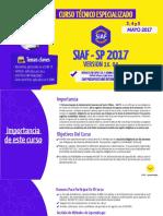 Curso Técnico Especializado SIAF SP Mayo 2017