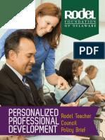 Rodel Teacher Council Brief 4 Prof Dev