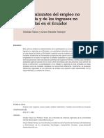 Determinantes del empleo no  agrícola y de los ingresos no  agrícolas en el Ecuador
