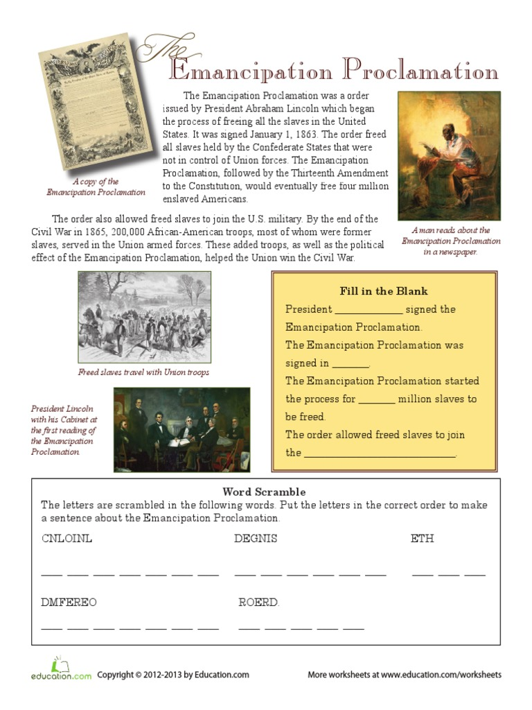 worksheet Emancipation Proclamation Worksheet the emancipation proclamation abolitionism