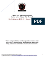 World Fire Safety Foundation Letter to the Albany City Council