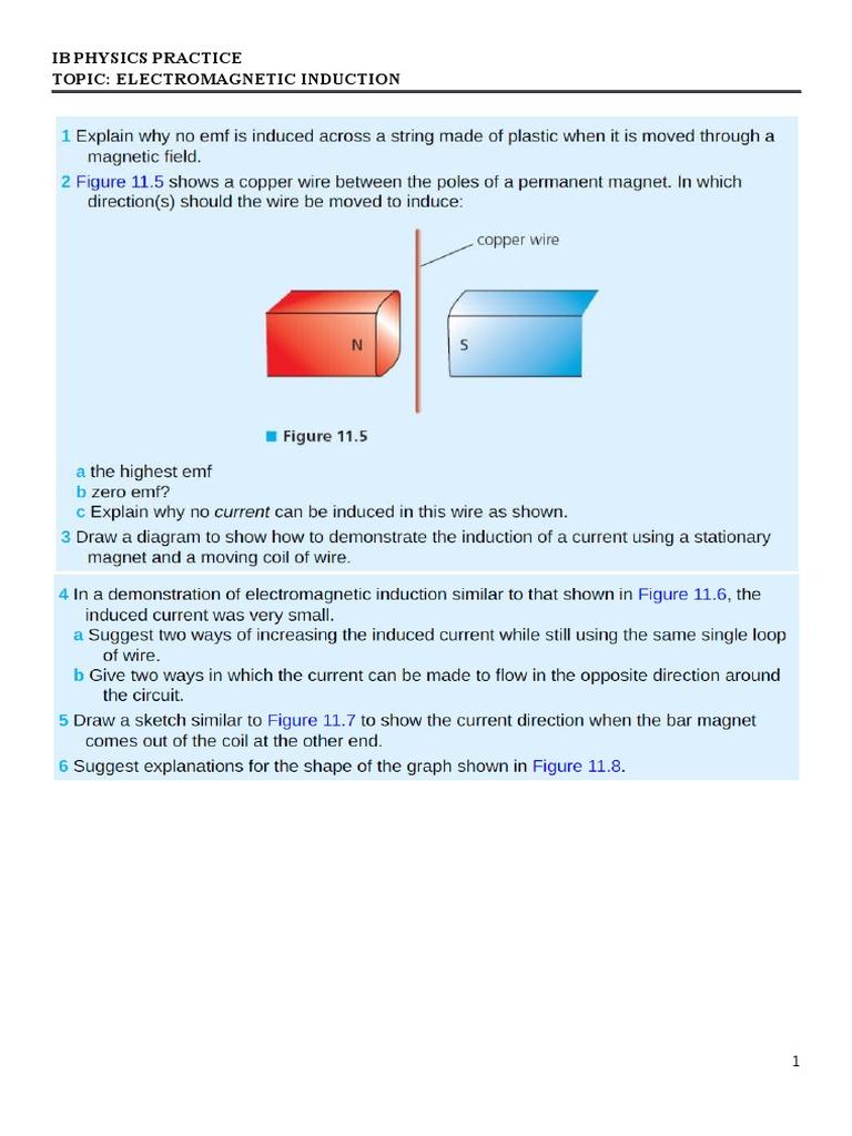 Ib Physics Practice Electromagnetic Induction