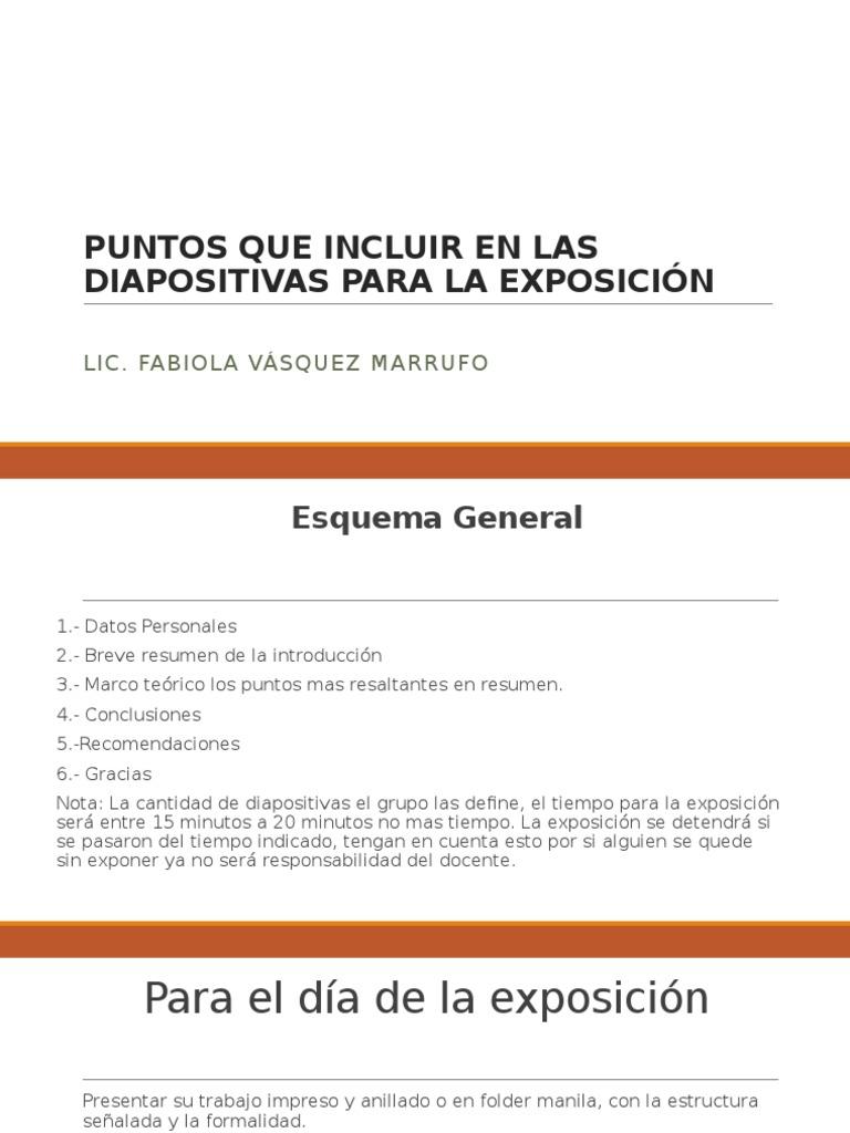 Instrucción Para La Exposición