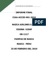 Informe Final - Nazca Airlines - Nazca Peru - 25 Febrero del 2010