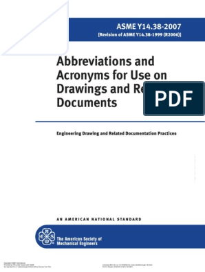 Abbreviations and Acronyms for Use on Drawings and Related