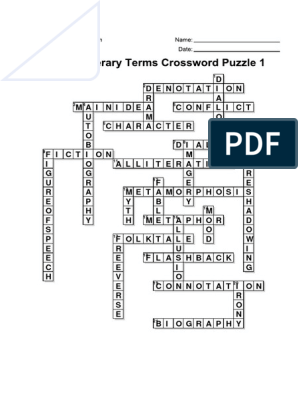 7th Grade Literary Terms Crossword Puzzle 1 Solution[1]