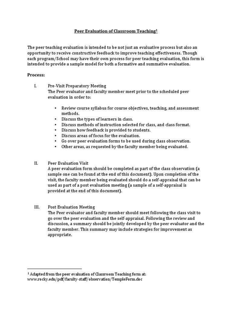 Peer Evaluationpdf Educational Assessment Learning