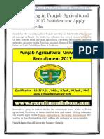 Punjab Agricultural University Recruitment 2017