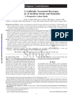Sugar and artificially sweetened beverages and the risks of incident stroke and dementia