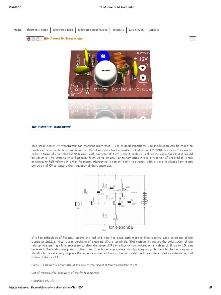1km Power Fm Transmitter Inductor Arduino Bh1417f Modulator Circuit Schematic