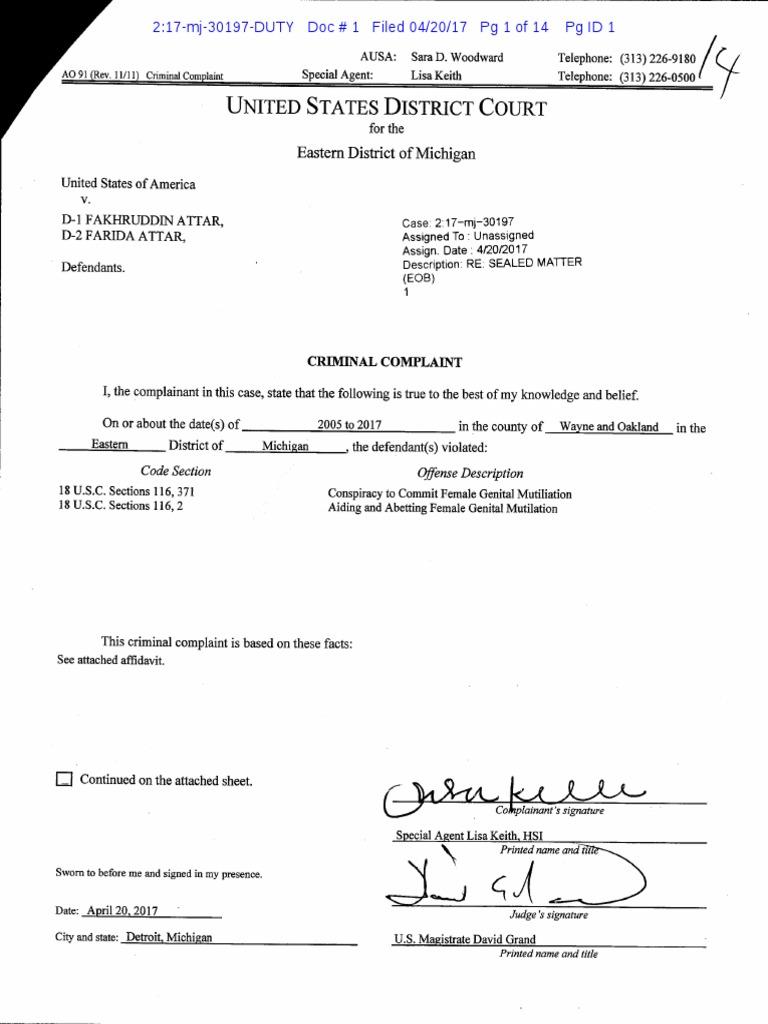 Attar Defendants Genital Mutilation Criminal Complaint