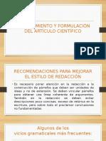 Diapositivas Planteamiento y Formulación de Artículos Científicos