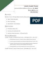 joseph rusek teaching resume