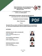 Decisión 578 y su efecto de Doble No Imposición en la prestación de Servicios Profesionales entre los países miembros de la CAN