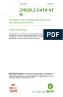 Responsible Data at Oxfam: Translating Oxfam's Responsible Data Policy into practice, two years on