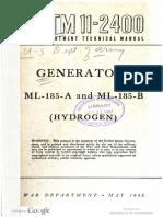 TM11 2400 Generators ML 185 a and ML 185 B Hydrogen