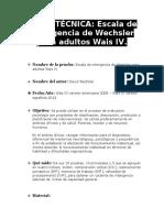 Escala de Inteligencia de Wechsler Para Adultos Wais IV