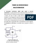 555 Timer as Monostable Multivibrator