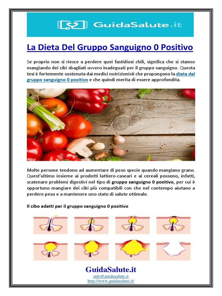 dieta per gruppo sanguigno a
