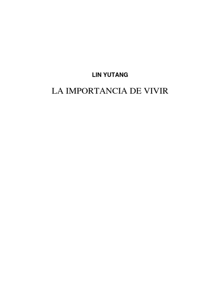 La Importancia de Vivir de Lin Yutang