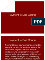 Payment in Due Course