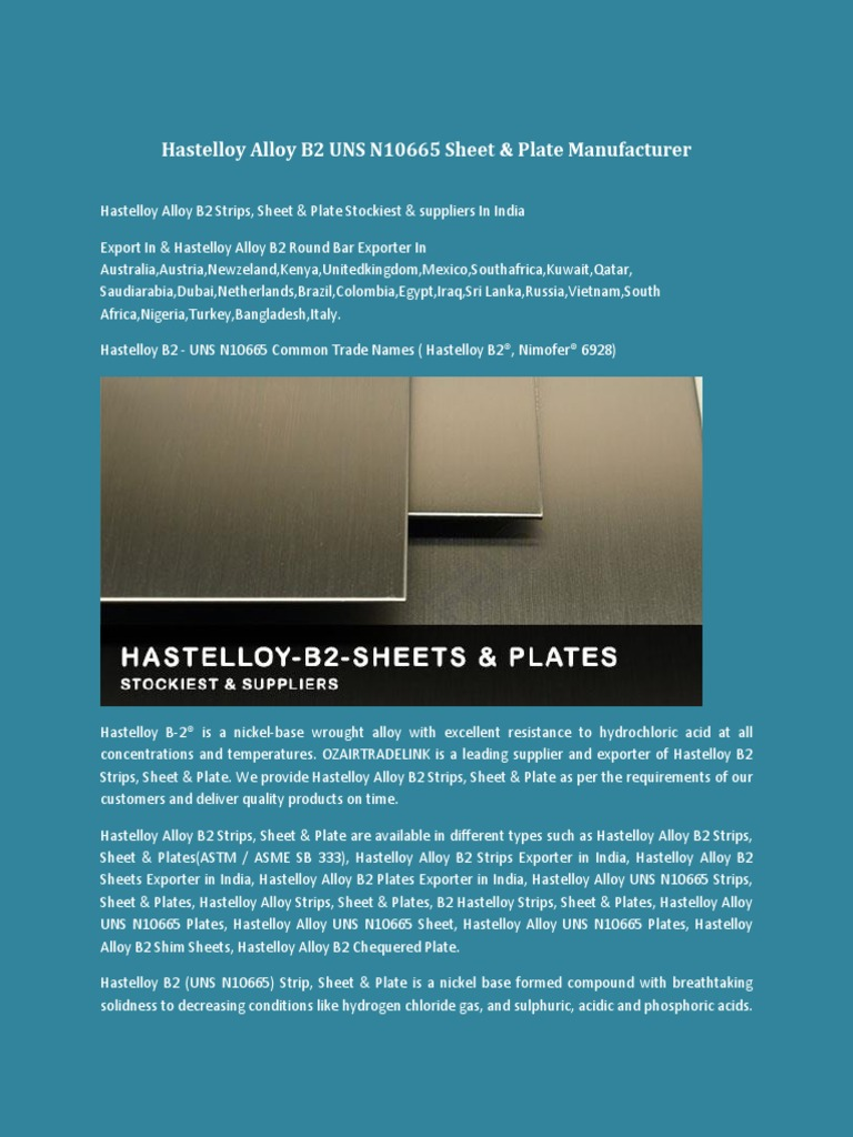 Hastelloy Alloy B2 UNS N10665 Round Bar Manufacturer   Sheet Metal ...