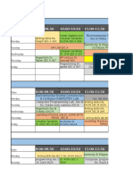 2016 Batch Time Table Wef 20th January 2016