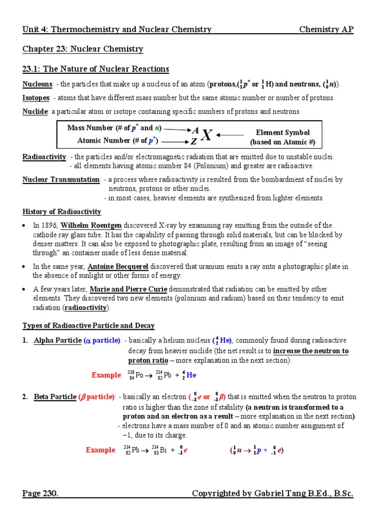 Chapter 23 Nuclear Chemistry Notes (answers).pdf | Nuclear ...